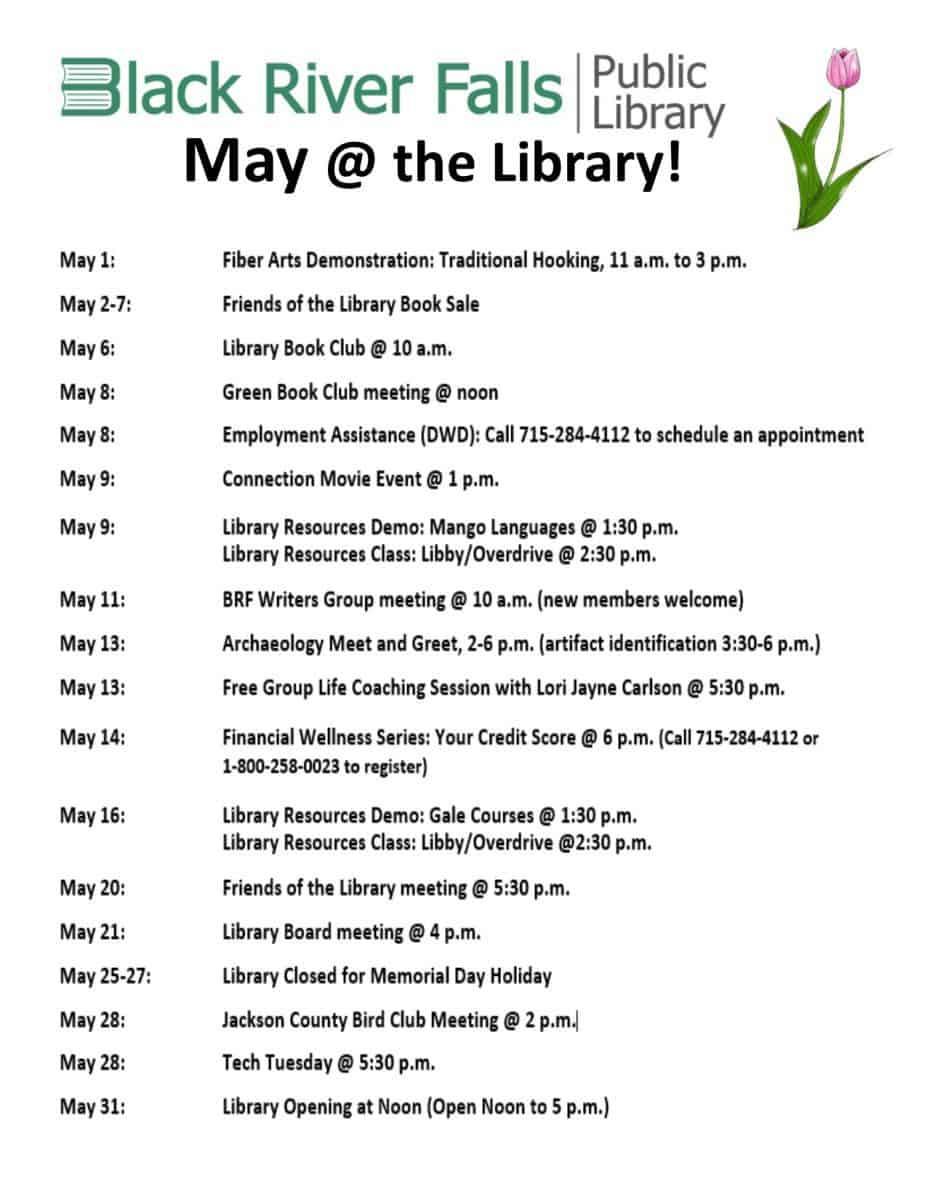 May at the Black River Falls Public Library