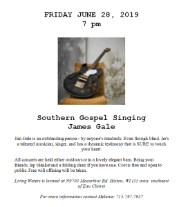 Southern Gospel Singing with James Gale @ Living Waters Retreat | Hixton | Wisconsin | United States