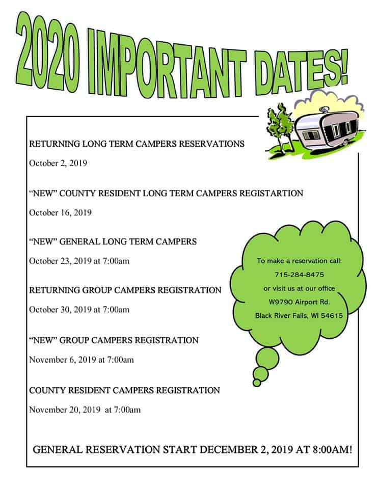 Jackson County 2020 Camping Dates