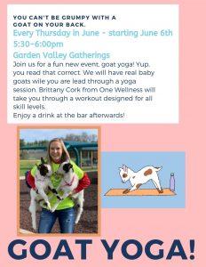 GOAT YOGA! @ Garden Valley Gatherings
