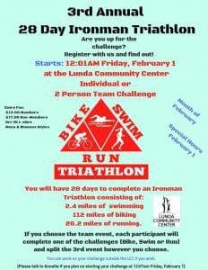 3rd Annual 28 Day Ironman Triathlon @ Lunda Community Center