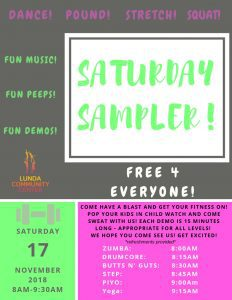 Saturday Sampler! @ Lunda Community Center